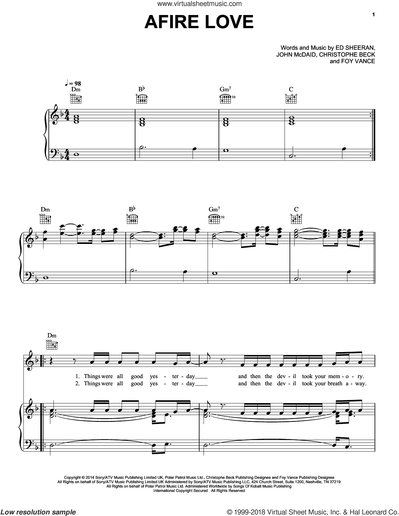 Afire Love sheet music for voice, piano or guitar by Ed Sheeran, Christophe Beck, Foy Vance and John McDaid, intermediate skill level