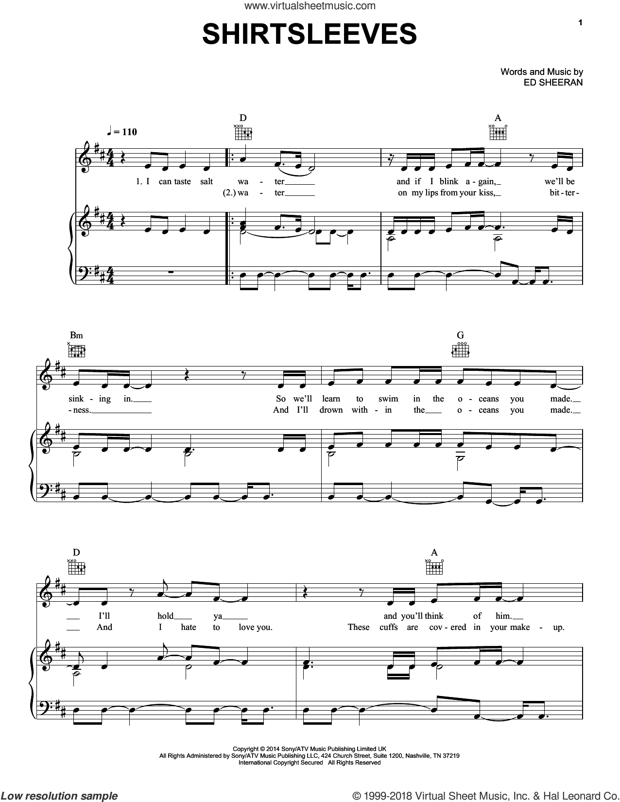 Shirtsleeves sheet music for voice, piano or guitar by Ed Sheeran, intermediate skill level