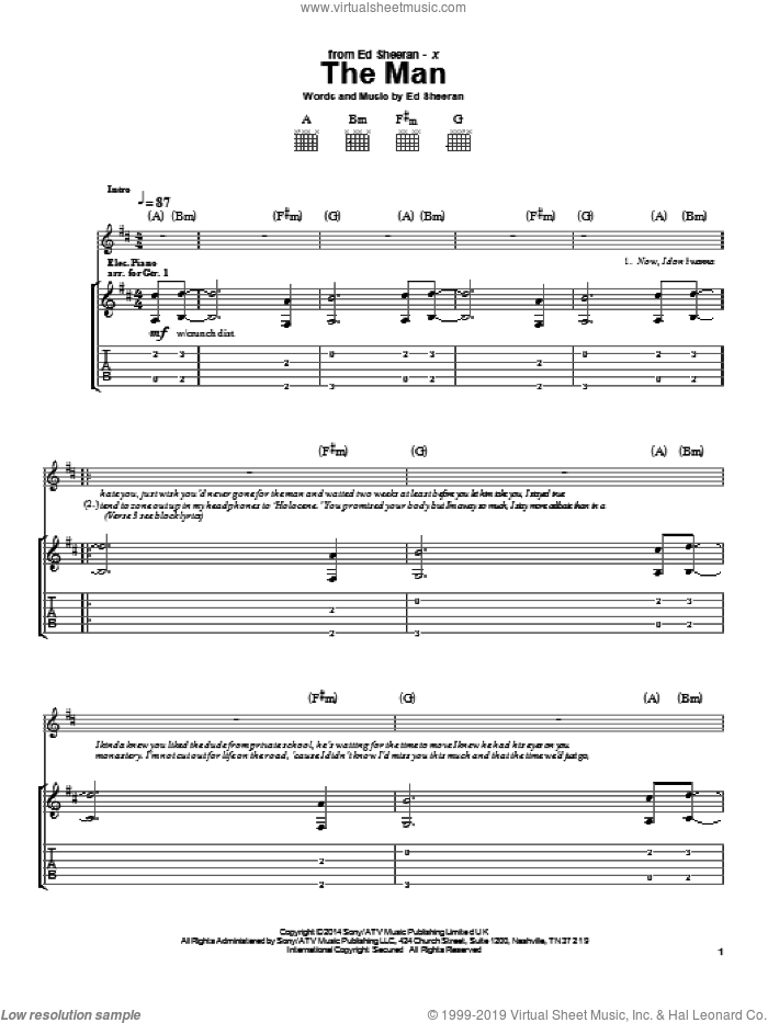 The Man sheet music for guitar (tablature) by Ed Sheeran, intermediate. Score Image Preview.