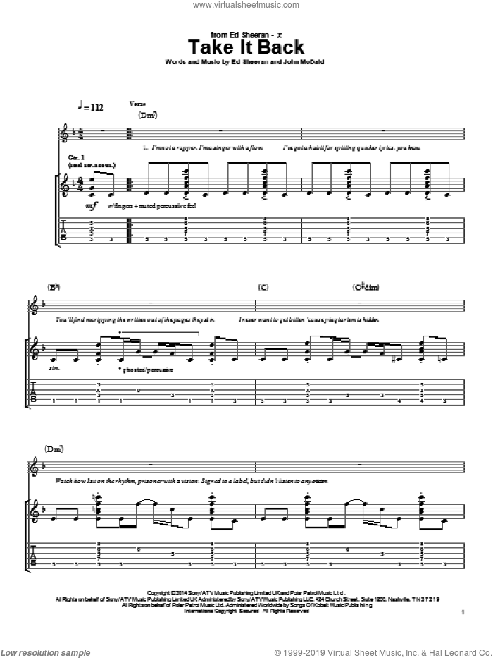 Take It Back sheet music for guitar (tablature) by John McDaid and Ed Sheeran. Score Image Preview.