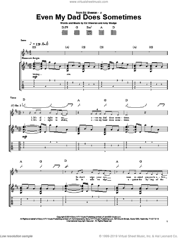 Even My Dad Does Sometimes sheet music for guitar (tablature) by Ed Sheeran, intermediate guitar (tablature). Score Image Preview.