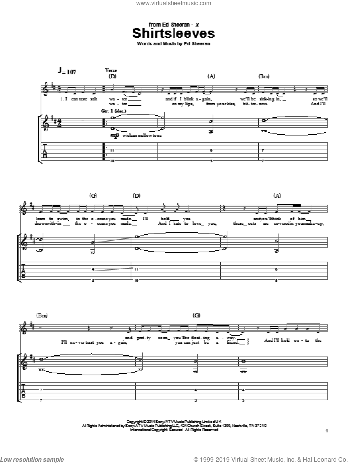 Shirtsleeves sheet music for guitar (tablature) by Ed Sheeran. Score Image Preview.