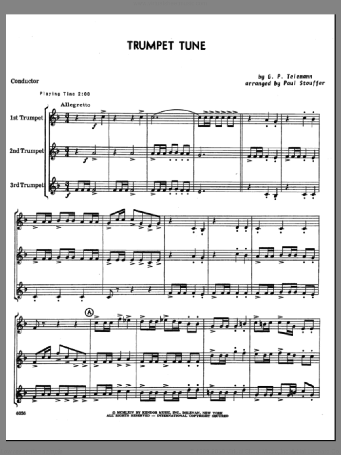 Trumpet Tune (COMPLETE) sheet music for three trumpets by Georg Philipp Telemann and Paul M. Stouffer, classical score, intermediate skill level