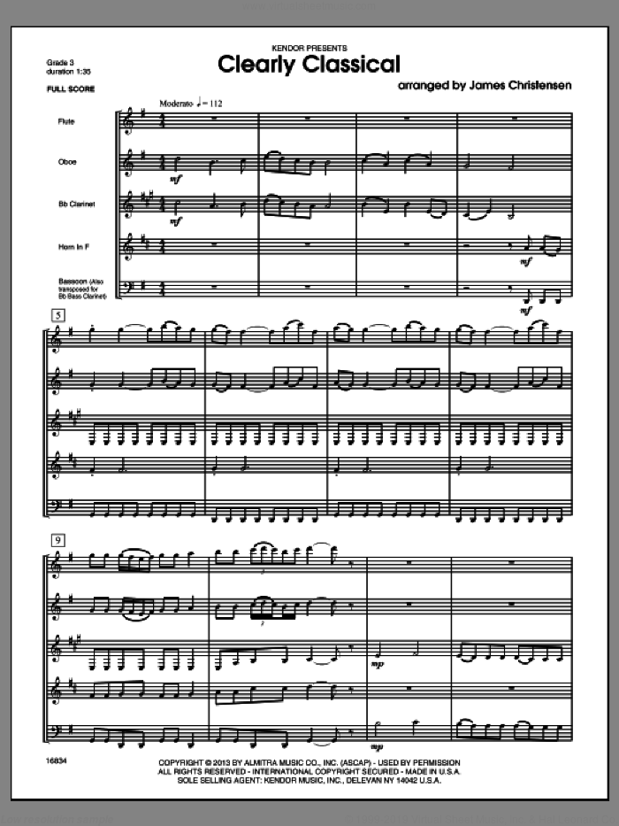 Clearly Classical (COMPLETE) sheet music for wind quintet by James Christensen, classical score, intermediate skill level