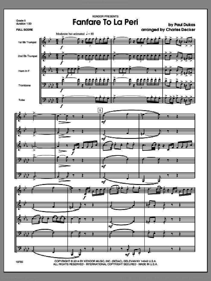 Fanfare To La Peri (COMPLETE) sheet music for brass quintet by Charles Decker and Dukas, classical score, intermediate skill level