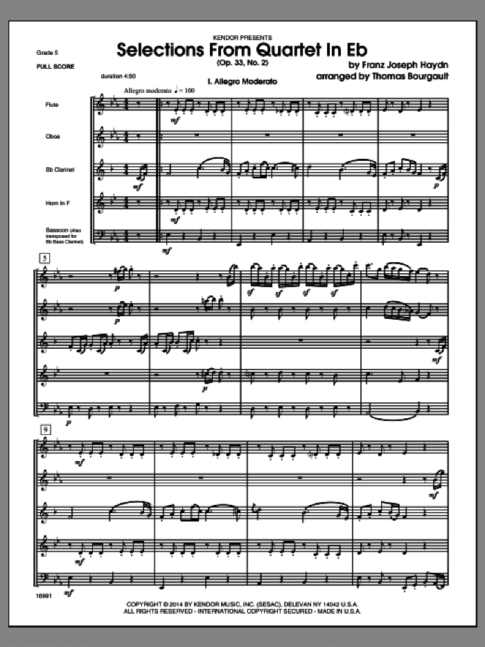 Selections From Quartet In Eb (Op. 33, No. 2) (COMPLETE) sheet music for wind quintet by Franz Joseph Haydn and Thomas Bourgault, classical score, intermediate skill level