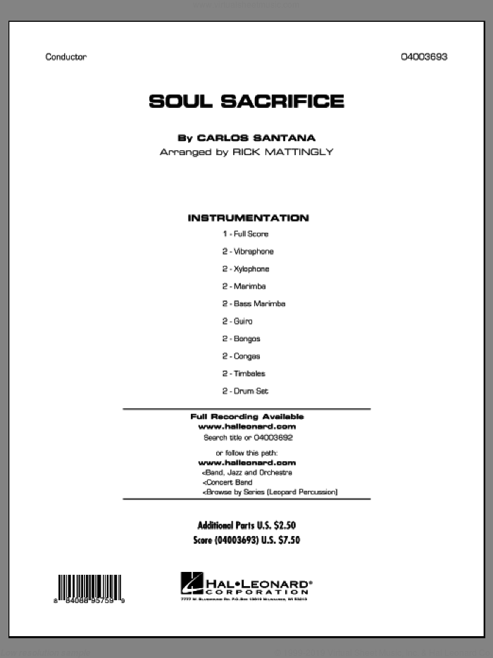 Soul Sacrifice (COMPLETE) sheet music for concert band by Carlos Santana and Rick Mattingly, intermediate skill level