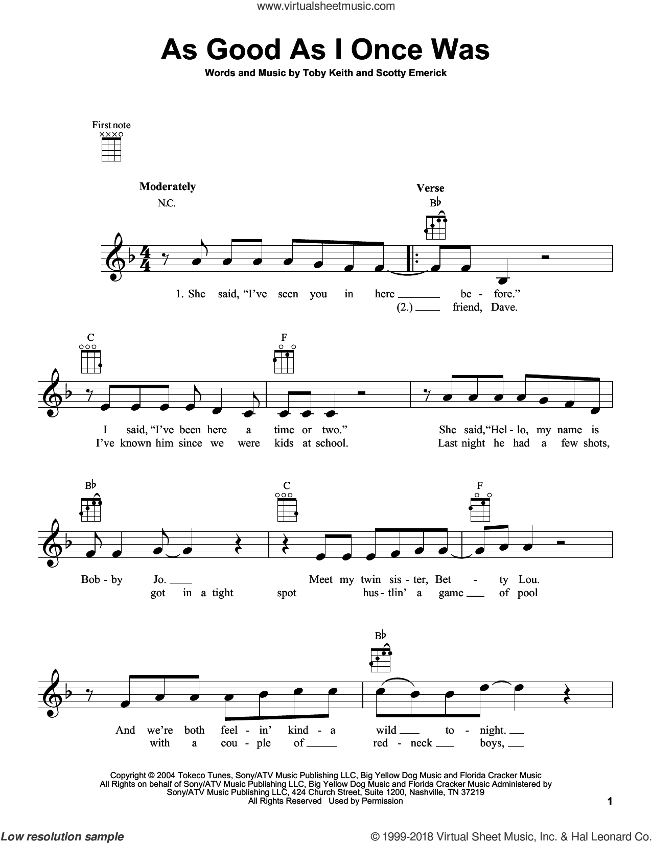 As Good As I Once Was sheet music for ukulele by Toby Keith and Scotty Emerick, intermediate skill level