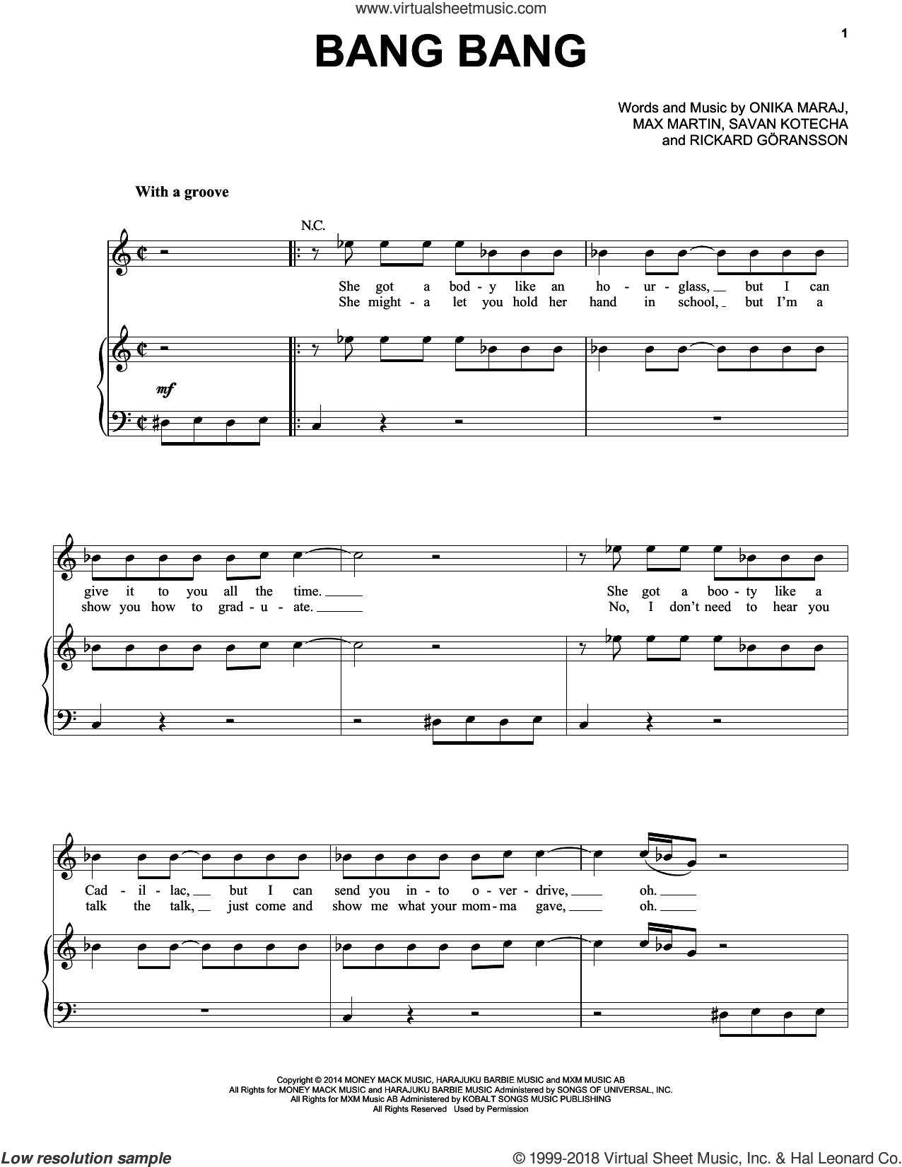 Bang Bang sheet music for voice, piano or guitar by Jessie J, Ariana Grande & Nicki Minaj, Ariana Grande, Jessie J, Nicki Minaj, Max Martin, Onika Maraj, Rickard Goransson and Savan Kotecha, intermediate