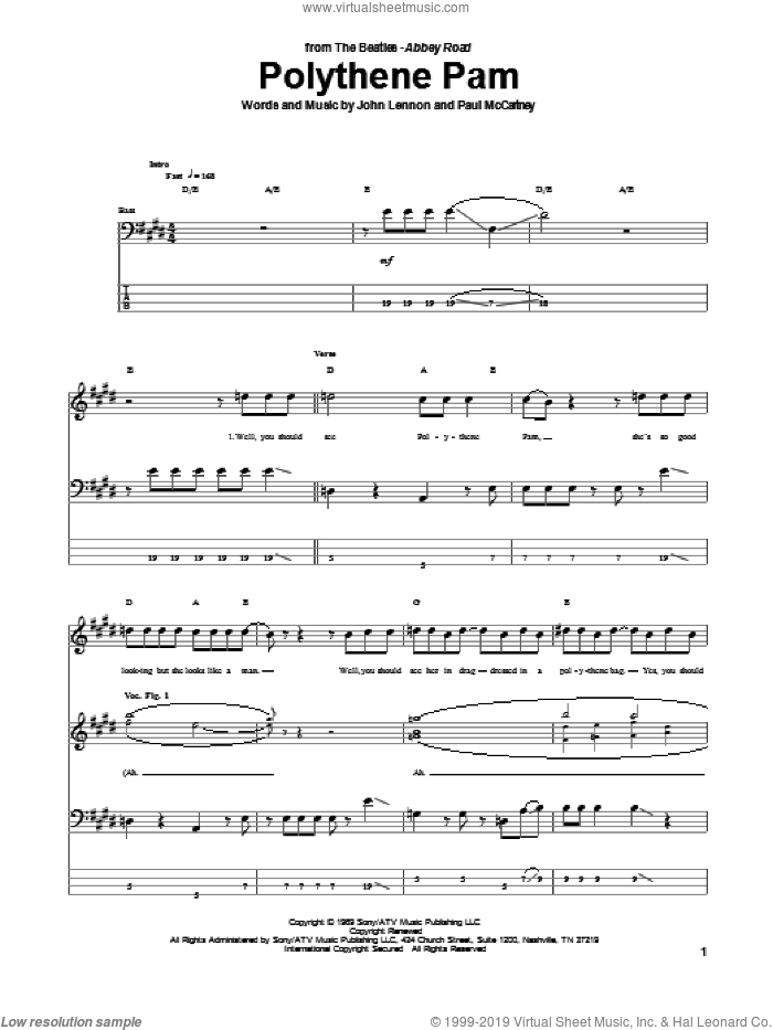 Polythene Pam sheet music for bass (tablature) (bass guitar) by The Beatles, John Lennon and Paul McCartney, intermediate. Score Image Preview.