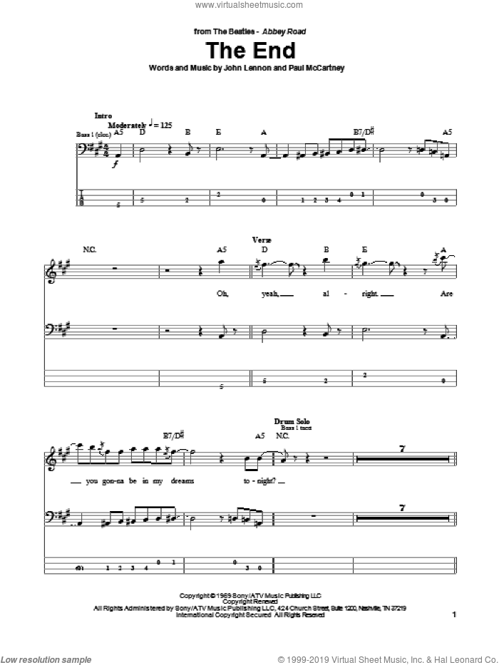 The End sheet music for bass (tablature) (bass guitar) by Paul McCartney, The Beatles and John Lennon. Score Image Preview.