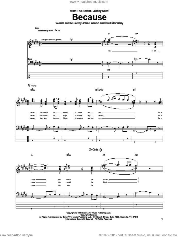 Because sheet music for bass (tablature) (bass guitar) by The Beatles, John Lennon and Paul McCartney, intermediate. Score Image Preview.