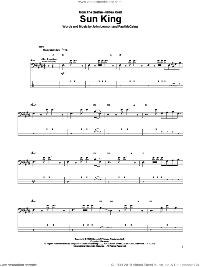 Sun King sheet music for bass (tablature) (bass guitar) by Paul McCartney, The Beatles and John Lennon. Score Image Preview.