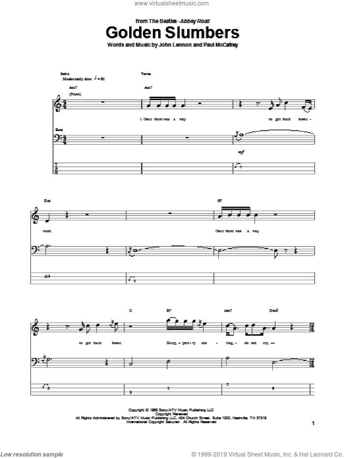 Golden Slumbers sheet music for bass (tablature) (bass guitar) by Paul McCartney, The Beatles and John Lennon. Score Image Preview.