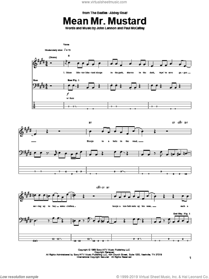Mean Mr. Mustard sheet music for bass (tablature) (bass guitar) by The Beatles, John Lennon and Paul McCartney, intermediate. Score Image Preview.
