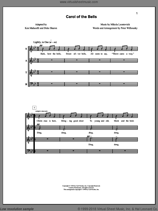 Carol of the Bells sheet music for choir (a cappella) by Deke Sharon, Anne Raugh and Ken Malucelli. Score Image Preview.