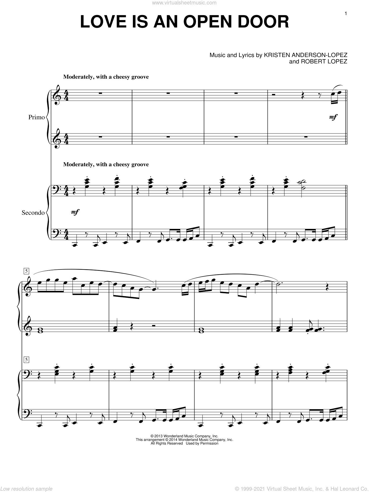 Love Is An Open Door sheet music for piano four hands by Robert Lopez, Kristen Bell & Santino Fontana and Kristen Anderson-Lopez, intermediate