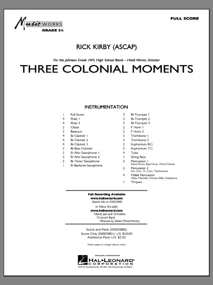 Three Colonial Moments (COMPLETE) sheet music for concert band by Rick Kirby, intermediate. Score Image Preview.