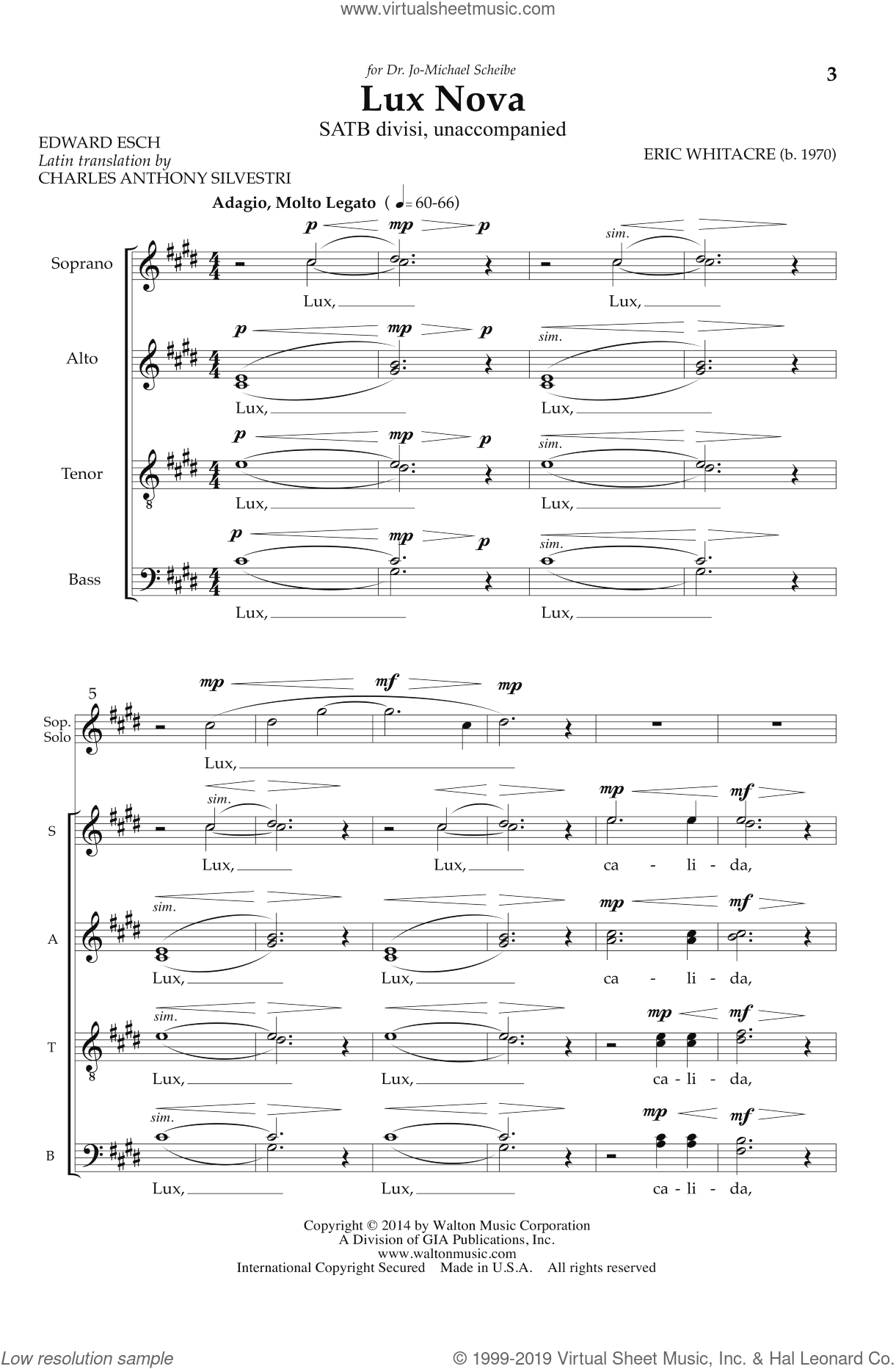 Lux Nova sheet music for choir and piano (SATB) by Eric Whitacre. Score Image Preview.