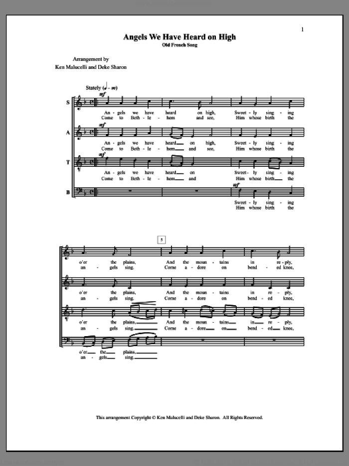 Angels We Have Heard on High sheet music for choir (a cappella) by Deke Sharon, Anne Raugh and Ken Malucelli. Score Image Preview.