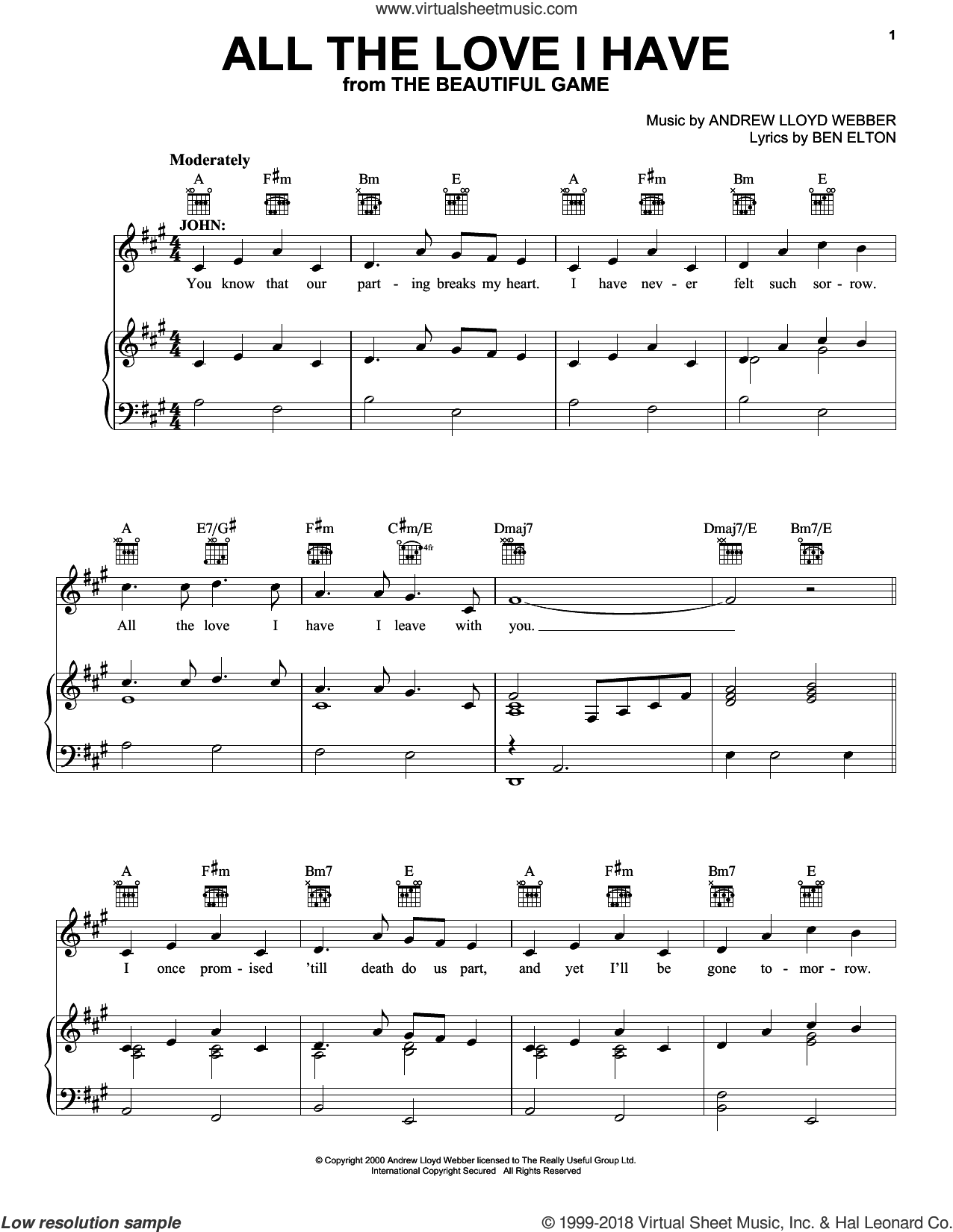 All The Love I Have sheet music for voice, piano or guitar by Andrew Lloyd Webber and Ben Elton, intermediate. Score Image Preview.