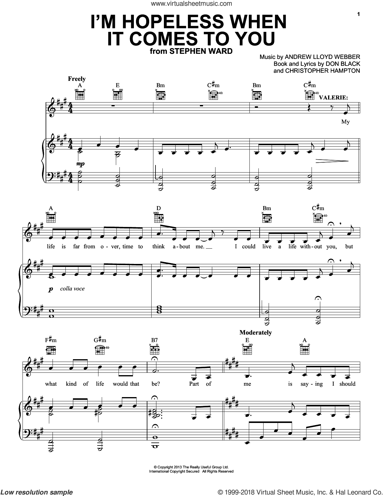 I'm Hopeless When It Comes To You sheet music for voice, piano or guitar by Don Black, Andrew Lloyd Webber and Christopher Hampton. Score Image Preview.