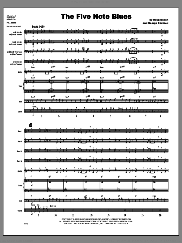 The Five Note Blues (COMPLETE) sheet music for jazz band by Doug Beach & George Shutack, intermediate jazz band. Score Image Preview.