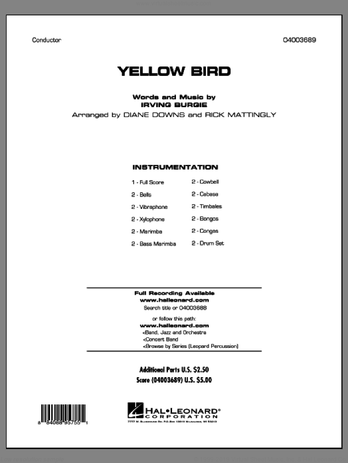 Yellow Bird (COMPLETE) sheet music for concert band by Irving Burgie and Diane Downs, intermediate skill level