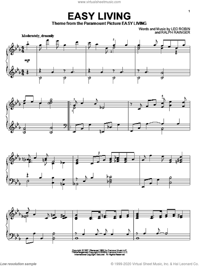 Easy Living sheet music for piano solo by Ralph Rainger