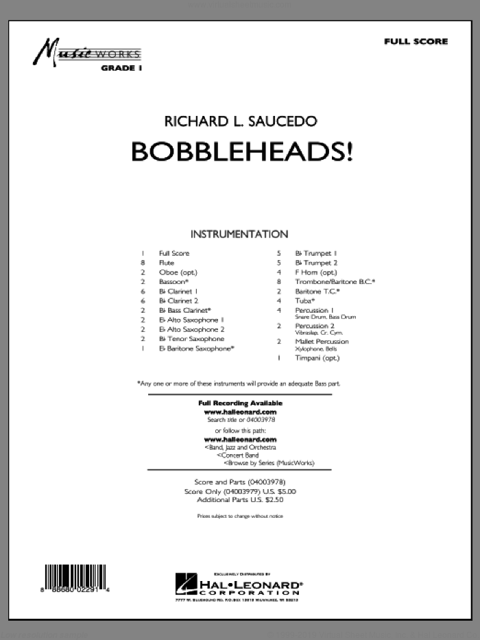 Bobbleheads! (COMPLETE) sheet music for concert band by Richard L. Saucedo, intermediate. Score Image Preview.