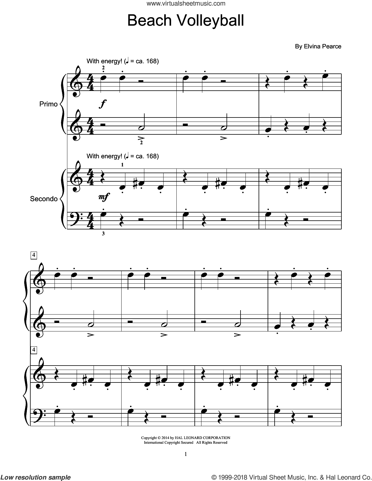 Beach Volleyball sheet music for piano four hands (duets) by Elvina Pearce. Score Image Preview.