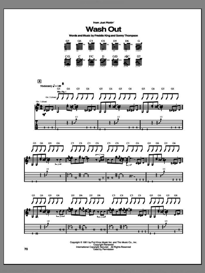 Wash Out sheet music for guitar (tablature) by Freddie King and Sonny Thompson. Score Image Preview.