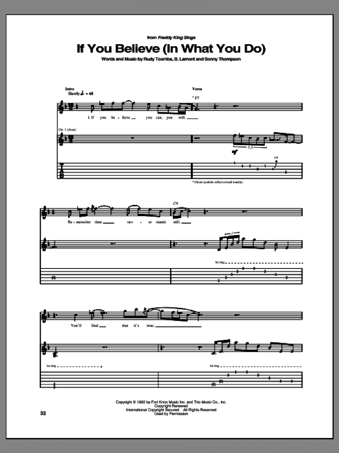 If You Believe (In What You Do) sheet music for guitar (tablature) by Freddie King and Rudy Toombs. Score Image Preview.