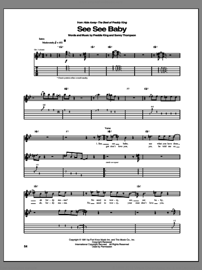 See See Baby sheet music for guitar (tablature) by Sonny Thompson and Freddie King. Score Image Preview.