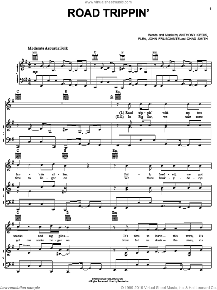 Road Trippin' sheet music for voice, piano or guitar by John Frusciante