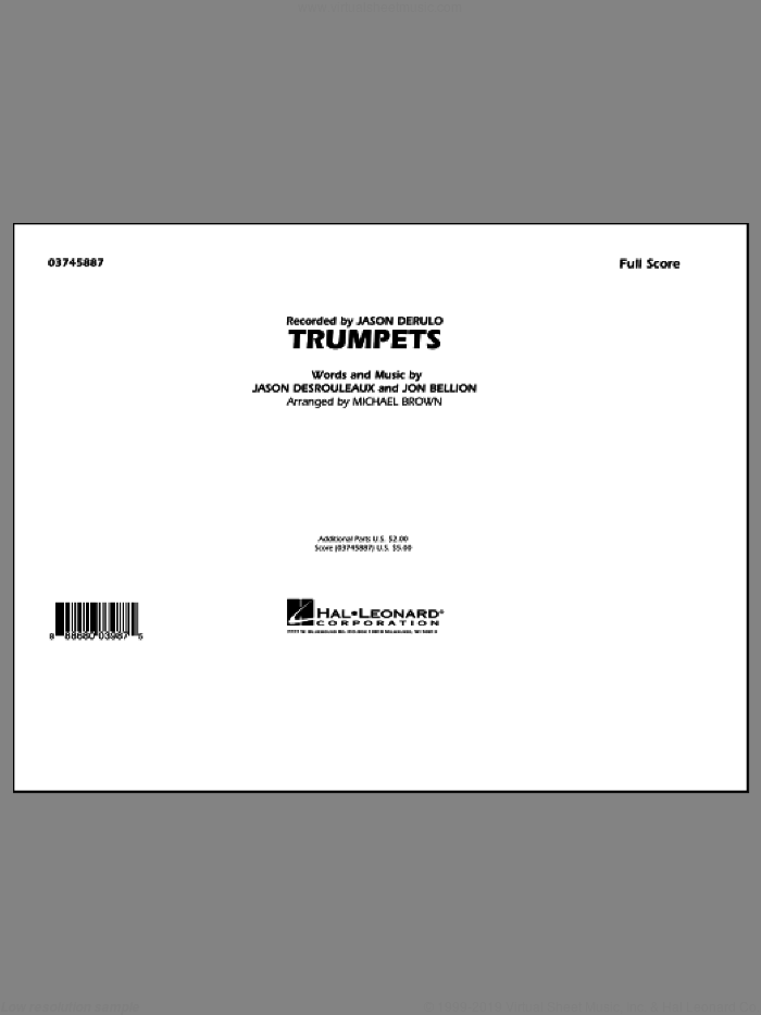 Trumpets (COMPLETE) sheet music for marching band by Michael Brown, Jason Derulo and Jon Bellion, intermediate skill level