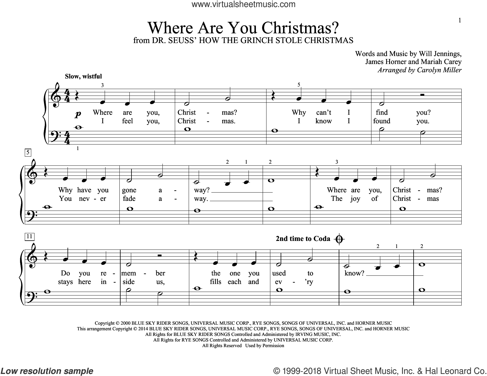 Where Are You Christmas? (arr. Carolyn Miller) (from How The Grinch Stole Christmas) sheet music for piano solo (elementary) by James Horner, Carolyn Miller, Faith Hill, John Thompson, Will Jennings and Mariah Carey, beginner piano (elementary)