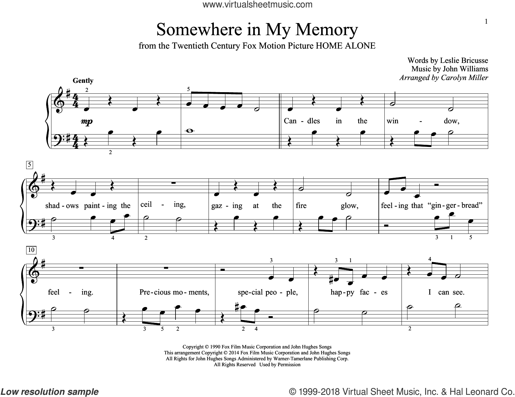 Somewhere In My Memory sheet music for piano solo (elementary) by John Williams, Carolyn Miller, John Thompson and Leslie Bricusse, beginner piano (elementary)