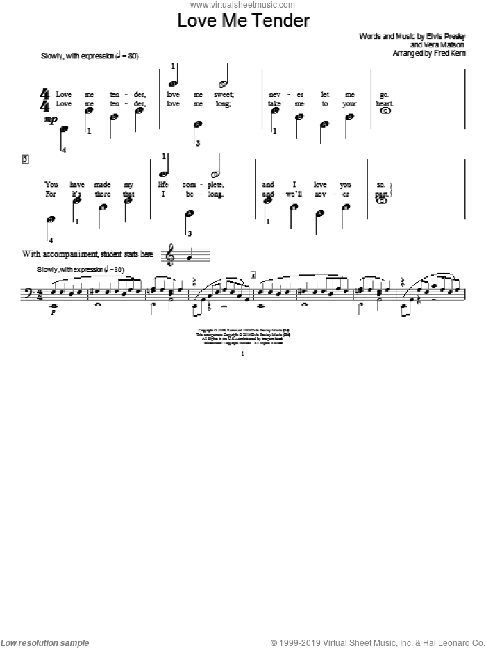 Love Me Tender sheet music for piano solo (elementary) by Fred Kern, Elvis Presley and Vera Matson, beginner piano (elementary)
