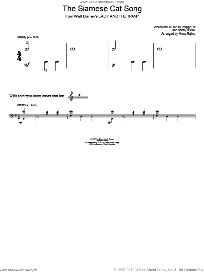 The Siamese Cat Song sheet music for piano solo (elementary) by Peggy Lee, Mona Rejino and Sonny Burke, beginner piano (elementary). Score Image Preview.