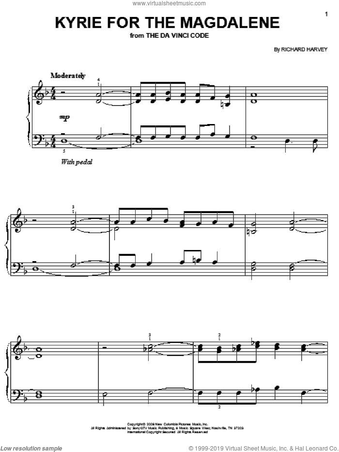 Kyrie For The Magdalene sheet music for piano solo (chords) by Richard Harvey