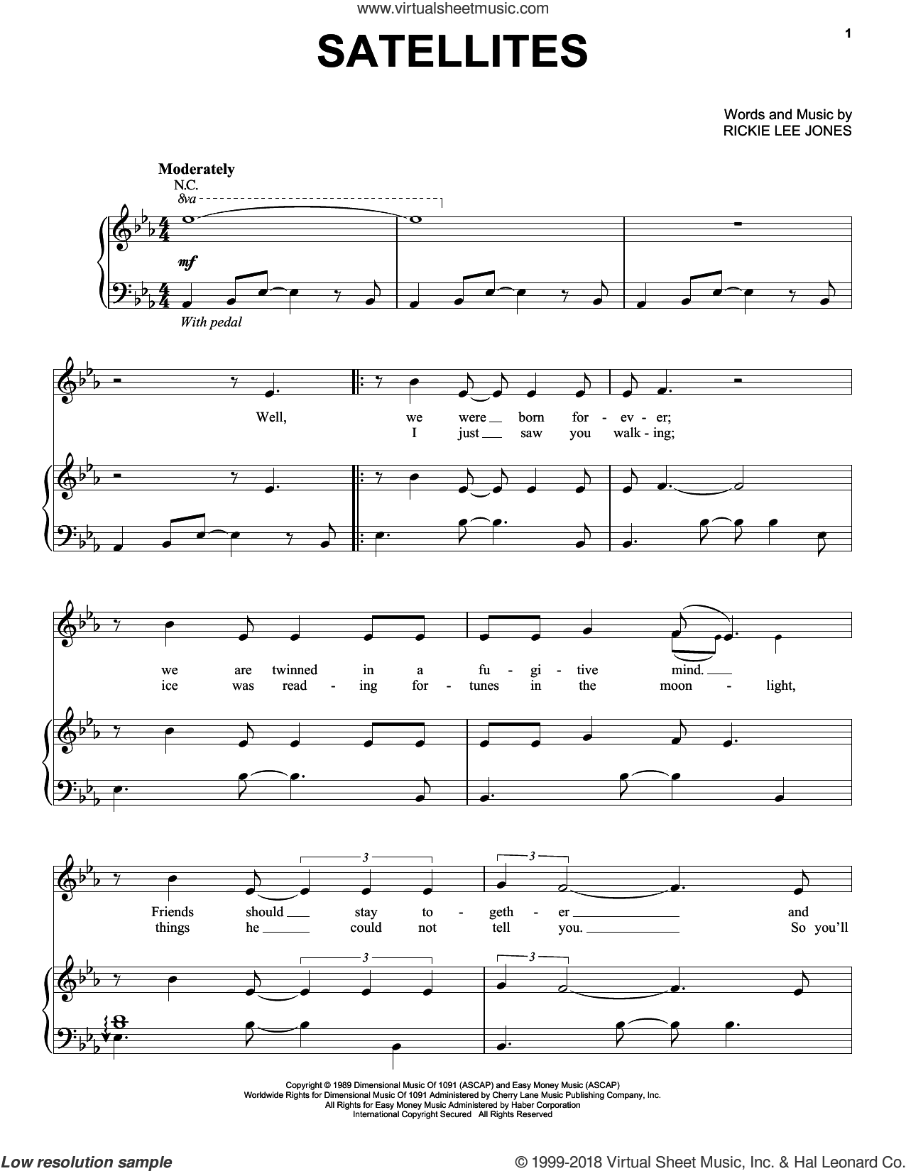 Satellites sheet music for voice, piano or guitar by Rickie Lee Jones. Score Image Preview.