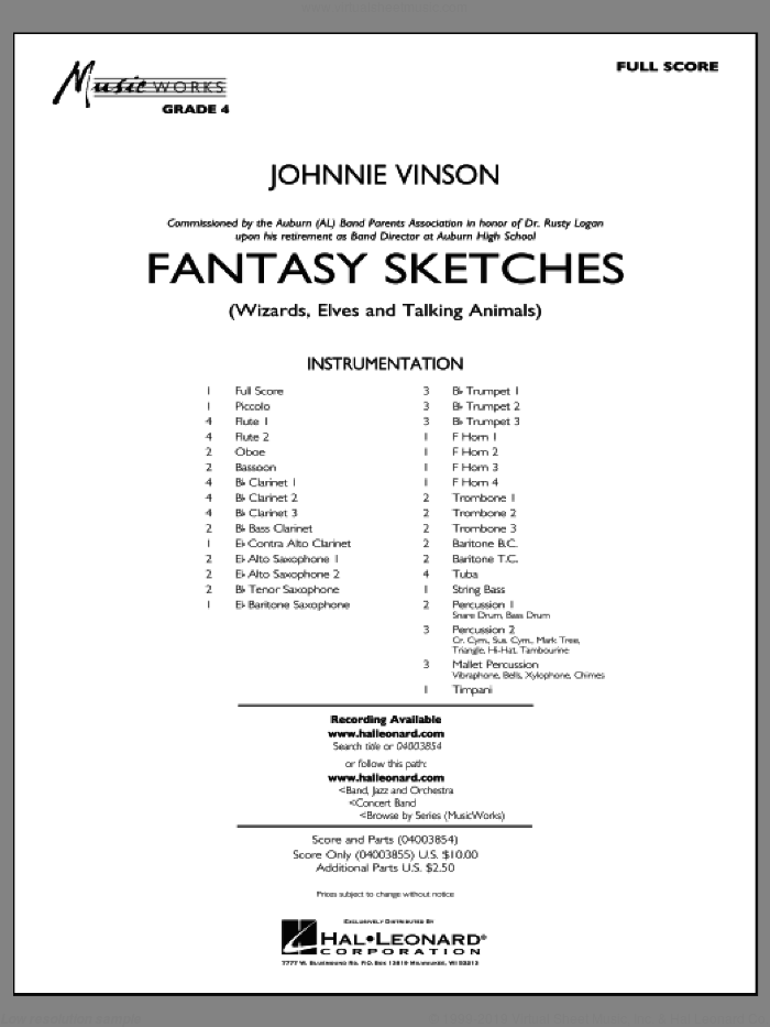 Fantasy Sketches (COMPLETE) sheet music for concert band by Johnnie Vinson, intermediate skill level