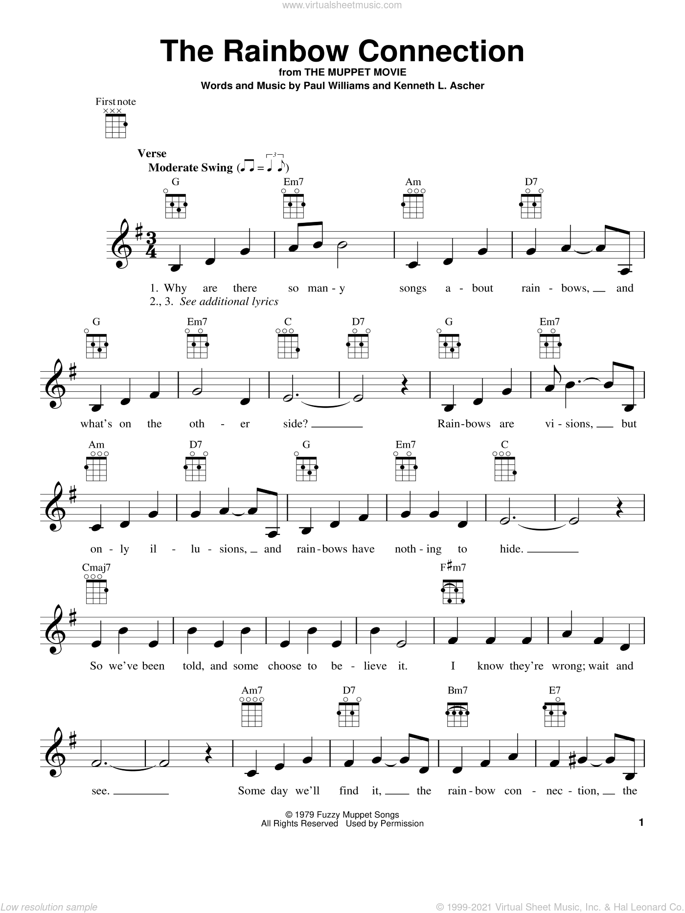 The Rainbow Connection sheet music for ukulele by Paul Williams and Kenneth L. Ascher, intermediate skill level