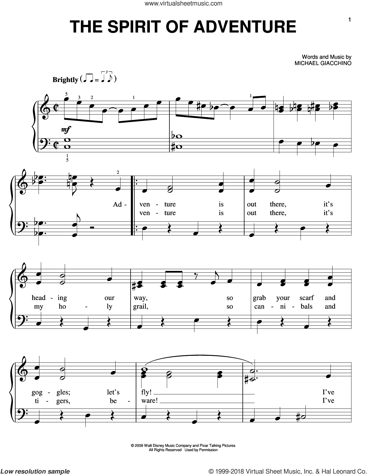 The Spirit Of Adventure sheet music for piano solo by Michael Giacchino, easy. Score Image Preview.