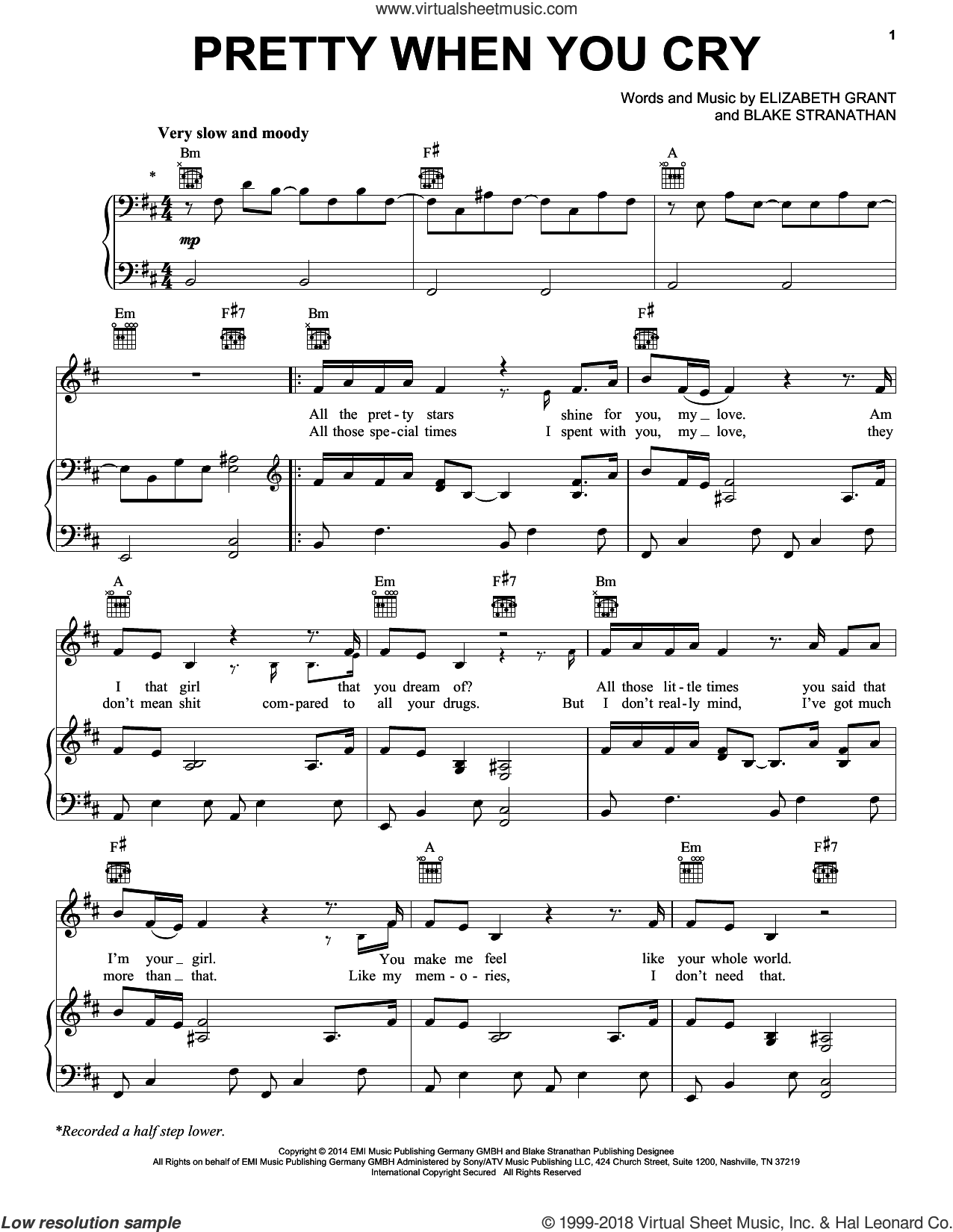 Pretty When You Cry sheet music for voice, piano or guitar by Lana Del Rey, Blake Stranathan and Elizabeth Grant, intermediate skill level