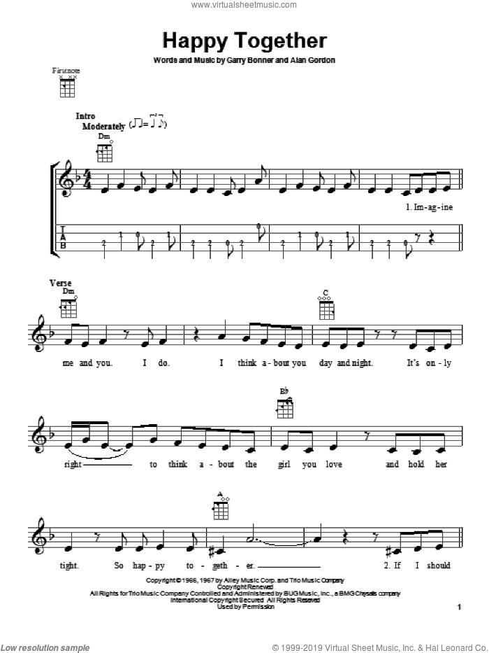 Happy Together sheet music for ukulele by The Turtles, intermediate. Score Image Preview.