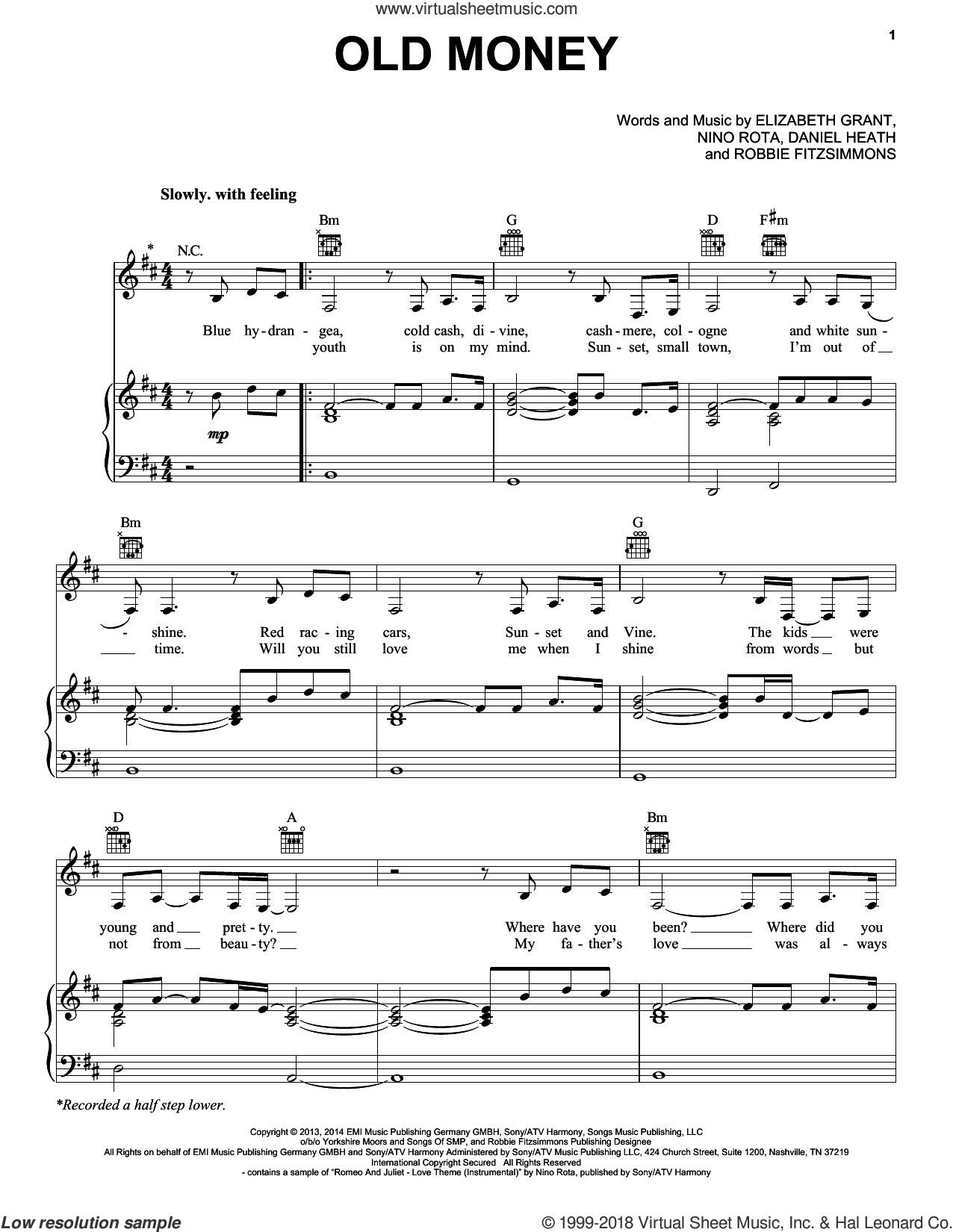 Old Money sheet music for voice, piano or guitar by Lana Del Rey, Daniel Heath, Elizabeth Grant, Nino Rota and Robbie Fitzsimmons, intermediate skill level