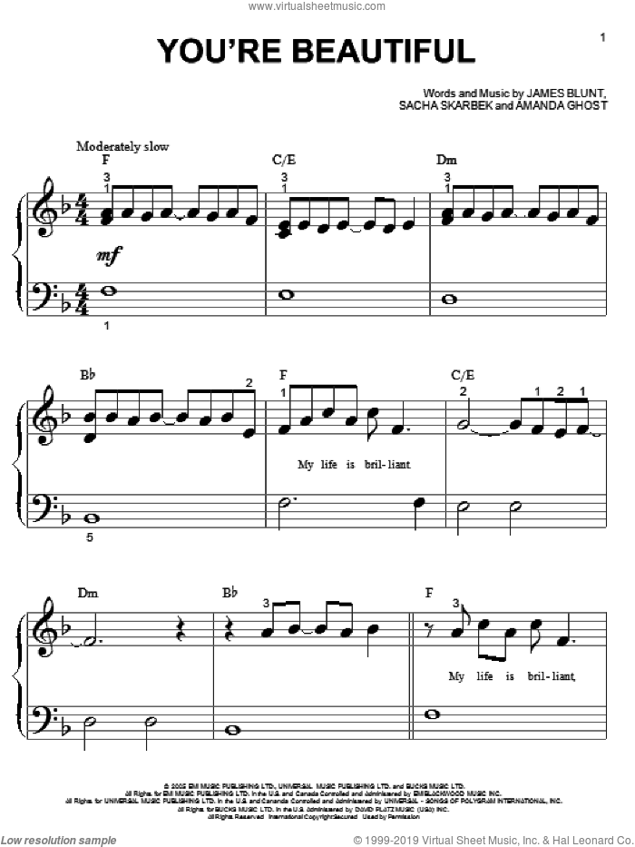 You're Beautiful sheet music for piano solo (big note book) by James Blunt, easy piano (big note book). Score Image Preview.