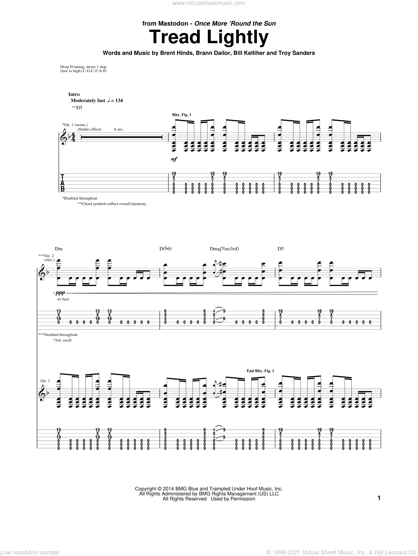 Tread Lightly sheet music for guitar (tablature) by Mastodon, Bill Kelliher, Brann Dailor, Brent Hinds and Troy Sanders, intermediate skill level